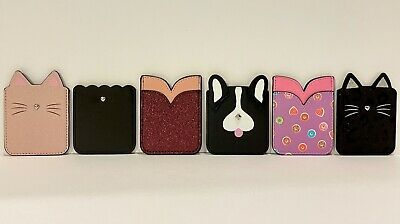 Phone Pocket Sticker holds ID - cards  Kitty Dog Glitter Scalloped Donuts