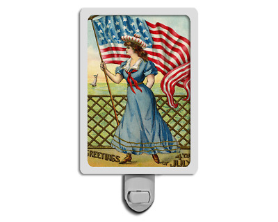 Fourth of July Greetings Vintage Style Patriotic Woman Night Light