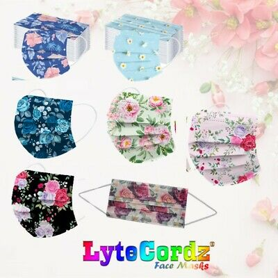 Face Mask Floral Flowers Butterflies Spring Pattern Disposable Surgical 3 Ply