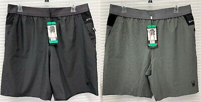 Spyder Active Mens Performance Proweb Stretch Shorts Zip Pockets - NWT