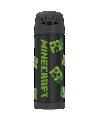 THERMOS MINECRAFT 16oz FUNTAINER WATER BOTTLE WITH BAIL HANDLE BLACK NEW