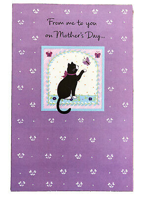 Happy Mothers Day Card to Friend Im thinking aboutcha Cat and Butterfly