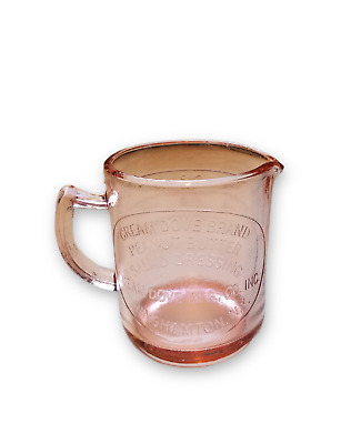 PINK DEPRESSION STYLE GLASS CREAM DOVE MEASURING CUP W SPOUT 1 Cup w Markers