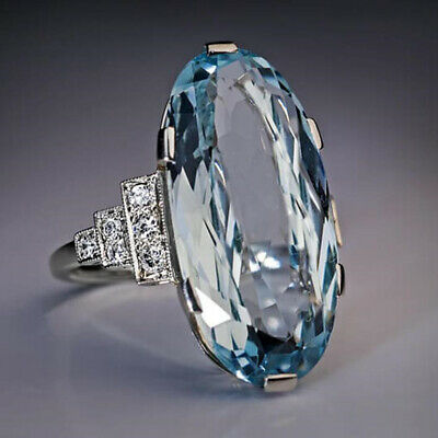 Womens Jewelry Charm Oval Cut Aquamarine 925 Silver Rings Gifts Rings Size 6-10