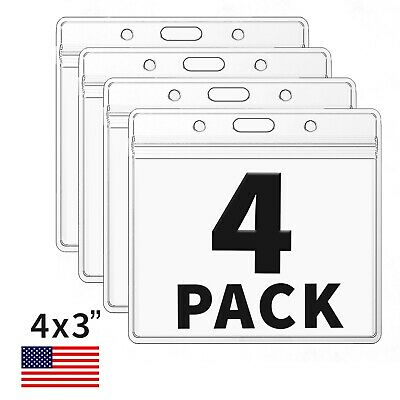 4 Pack CDC Vaccination Card Protector 4 X 3 Holder Clear Sleeve Waterproof Zip