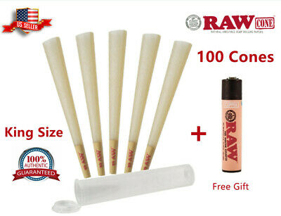 Authentic RAW Classic King Size Pre-Rolled Cones 100 Pack - Clipper Lighter Free