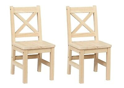 eHemco Solid Hard Wood X Back Kids Chair - Set of 2 Unfinished Assembly Needed