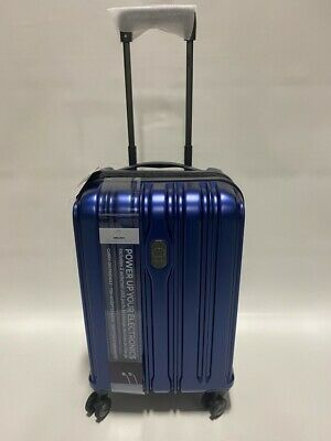 DELSEY CONNECTECH 21 LUGGAGE SPINNER WHEEL EXPANDABLE CARRY ON BLUE USB SMART