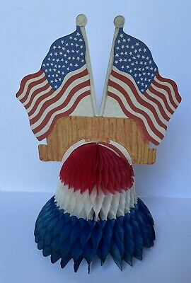 Vintage 4th of July Honeycomb Die Cut Flag Decoration Russ