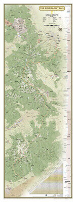 National Geographic CO Entire Colorado Trail Wall Map 18 x 48 wGift Box