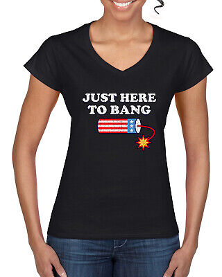 Just Here to Bang Funny 4th of July American Pride Women's Standard V-Neck Tee
