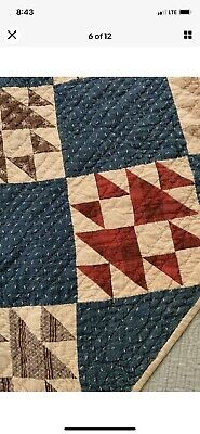 Late  1800s primitive Reds Blues hand sewn quilt collectors quality