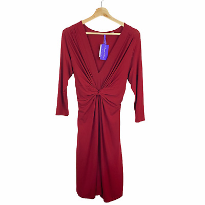 NWT Seraphine 10 Knot Front Maternity Dress Red 34 Sleeves Kate Middleton