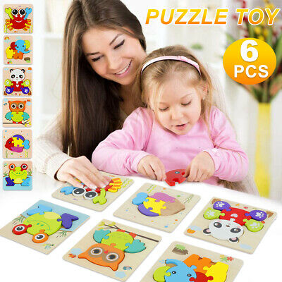 Dreampark Wooden Jigsaw Puzzles 6 Pack Animal Puzzles for Toddlers Kids 1-3
