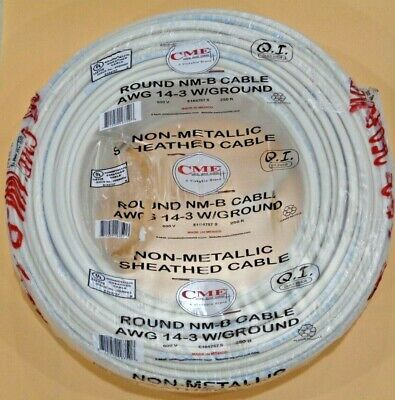 143 Romex 250 14-3 AWG Gauge NM-B Indoor Copper Electrical Wire Roll Cable New