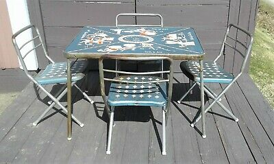 Vintage Metal Childrens Nursery Rhymes - ABCs Fold Up Table with 4 Chairs Retro