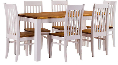 B.R.A.S.I.L.-Möbel Tablechamp Dining Table Set for Four, Rio Pine with 6X Chair