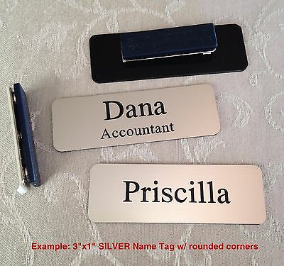 Custom Employee Name Tag smth Silver w Corner Rounds - magnet attachment 1 x 3