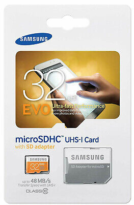 SAMSUNG EVO 32GB MicroSD Micro SDHC Class 10 Flash Memory Card w SD Adapter 32G