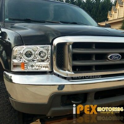 NEW 1999-2004 Ford F250F350 SUPER-DUTY Halo LED Projector Headlights Chrome