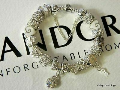 AUTHENTIC PANDORA BRACELET WITH CHARMS WINTERS LOVE AND HEARTS