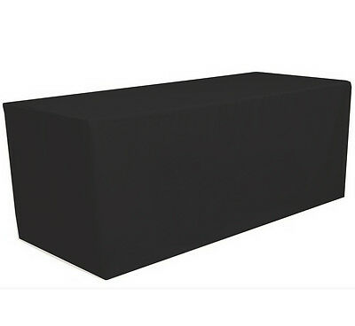 6 ft- Fitted Polyester Tablecloth Table Cover Wedding Banquet Party Black