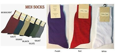 Mens High Quality Solid Color Dress Socks One Size 1013