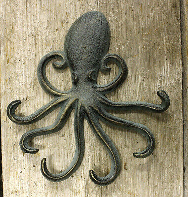 Heavy Cast Iron Octopus Towel Hanger Coat Hooks Hat Hook Key Rack Nautical
