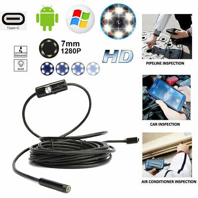 USB Borescope Inspection Endoscope 2m 5m Snake Camera for Android Laptops PC