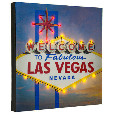 LED Lighted Up Welcome To Fabulous Las Vegas Classic Sign 15x15 Canvas Wall Art