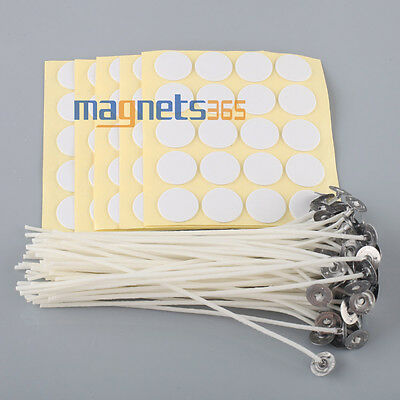 100 x Candle Wicks 6 COTTON Core Candle Making Supplies Pretabbed - Stickers