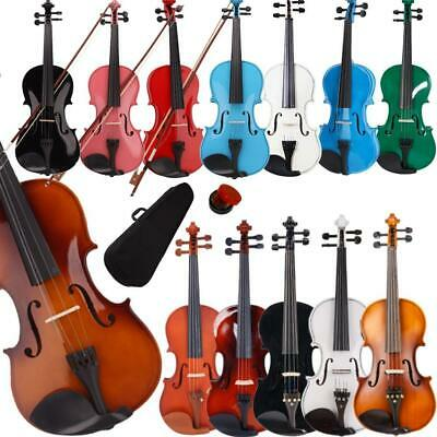 New Colorful 44 34 12 14 18 Size Acoustic Violin Fiddle with Case Bow Rosin