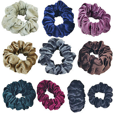 Large - Top Quality Velvet Scrunchies Color Assorted Hair Holder FashionSolid