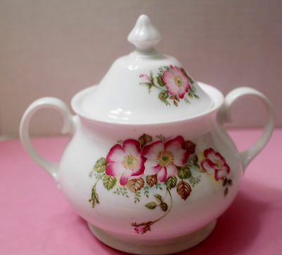 ROYAL GRAFTON BONE CHINA ENGLAND WILD ROSE SUGAR BOWL WITH LID