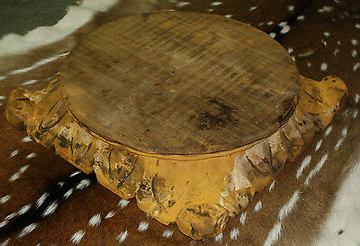 Carved Wooden PEDESTAL Base RISER ARCHITECTURAL Capital Cheese Cake Plant Stand