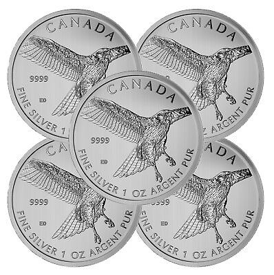 Lot of 5 - 2015 Canadian 1oz Silver Red-Tailed Hawk 5 Coin -9999 Fine BU