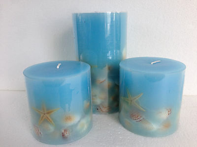 Beach Blue Candle Set Home and Garden Party 3 pcs New Beautiful