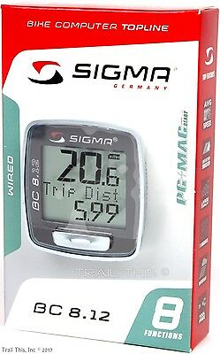 Sigma BC 8-12 WIRED 8-Function Bicycle Computer Speed Distance Upgraded BC5-12