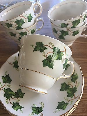 Lot Of 5 Colclough Ivy Cups - Saucers Made In England