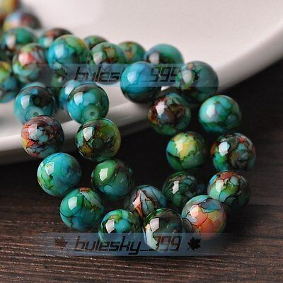 New 40pcs 8mm Round Glass Loose Spacer Beads Jewelry Findings Green-Blue