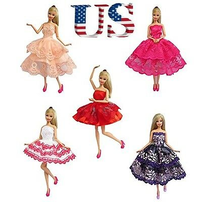 US 5 Pcs Fashion Handmade Dress Clothes Party Eveing Gown Outfit For Barbie Doll