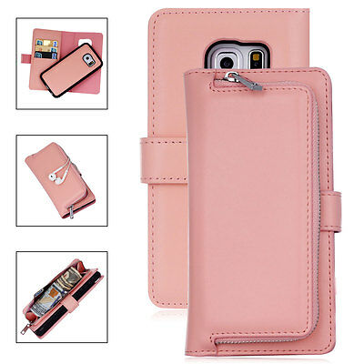 Luxury Leather Removable Wallet Flip Card Case Cover For Samsung Galaxy S8 Plus