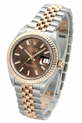 Rolex Datejust 28 Chocolate Dial Index Fluted Jubilee SSRG Watch 279171 New