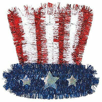 Amscan Fourth of July Party Uncle Sam Tinsel Hat Decoration Multi Color376556