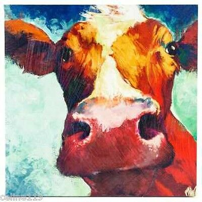 Big Cow Canvas Wall Art Hand Painted Large Piece Farmhouse Decor