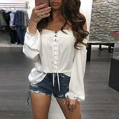 Fashion Womens Summer Off Shoulder Shirt Long Sleeve Casual Blouse Lace Up Tops