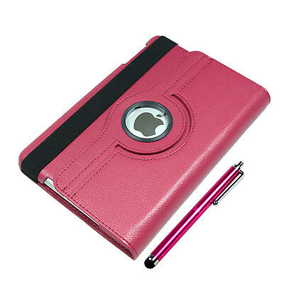 PU Leather Case Smart Back Cover 360 Rotating Stand - Stylus for iPad mini 1 2 3