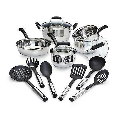 14-Piece Stainless Steel Cookware Set Pots Pans Kitchen Home Oven Safe Lifetime