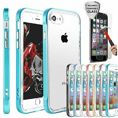 For Apple iPhone 6 6S 7  7 Plus Case Ultra Thin Slim Hard Cover- Tempered Glass