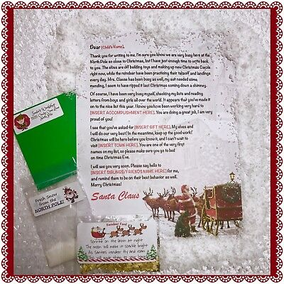 Personalized Letter from Santa Claus - Wax Sealed Instant Snow Reindeer Food